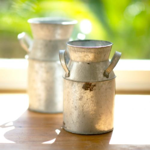 Florist Churn ~ Small Rustic Zinc Flower Churn 18CM